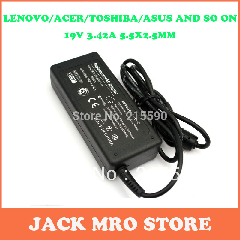 High Quality Laptop AC Adapter for Lenovo Asus Toshiba Benq Notebook 19V 3.42A 5.5*2.5 Ac Adapter Power Supply Charger Wholesale(China (Mainland))