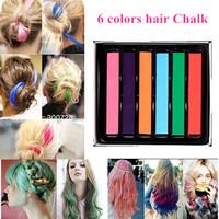 6 Colors Dye Hair Sticks Jumbo Chalk Temporary Bright Color Hair Chalk Colorful Hair DIY Chalk Pastels Hair 10pcs/lot