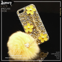 New Arrival Luxury Handmade Gold Crystal Sparkle Leather Flower Cases Cover w/ Deluxe Furry Ball Mobile Chain for iPhone 5 5s I5