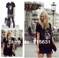 2014 Fashion Women Summer Dog head Print shirt Loose Cotton Style T-Shirt Rhinestone Short Sleeve T-shirt S-XXL