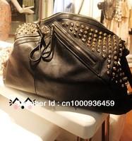 Free shipping Retro Black rivets Lady messenger bag single shoulder bag