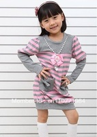 free shipping 5pcs/lot 2012 new fashion 100% soft cotton girls striped dress with necklace pink and navy stripe,for 2-7years