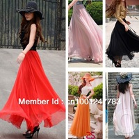 Bohemian Style Hot Candy Colors Chiffon Skirts Strapless Long Skirt Summer Sleeveless Skirt Beach Skirt