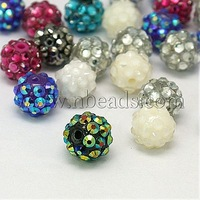Stock Deals Resin Rhinestone Beads,  Round,  Mixed Color,  about 12mm in diameter,  hole: 3mm