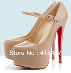 Free Shipping 2013 Summer Designer Sexy Women&#39;s Pumps Platform High Heels Wedding shoes Nude/Black Red Bottom Size5-10(China (Mainland))