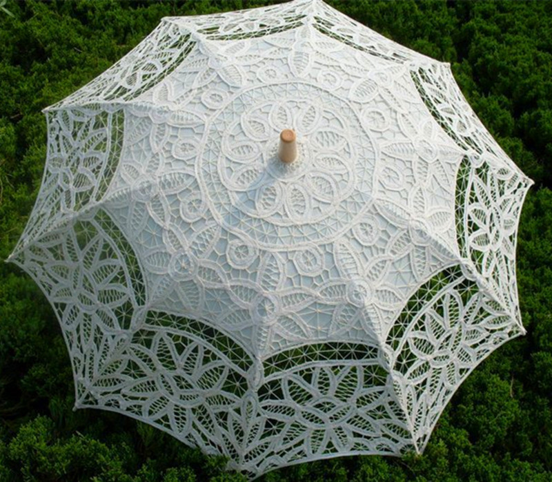2014 Lace Romantic Vintage Fabric Bridal Umbrella White Wedding Big Parasol de dupla camada anti- UV Bambu Artesanato Branco / Bege(China (Mainland))