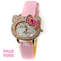 2014 Fashion Hello Kitty Cat Girl's watches Crystals Wristwatch For Woman Quartz Movement Black/White/Pink/Red/Pale pink