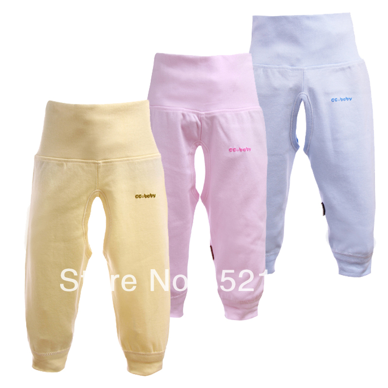 Free Shipping 2013 NEW Baby 100% cotton trousers high waist pants baby clothes boys and gilrs underwear 3colors 4pcs/lot(China (Mainland))