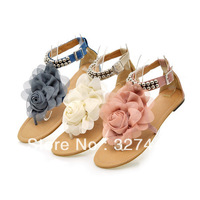 Hand Made Plus Size Flower Sandals for Women 2013 Summer Lady Flower Slippers Size4-11 Fashion Women Shoes Free Shipping