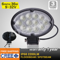 FREE FEDEX SHIPPING ! 6 INCH 36W CREE LED WORK LIGHT FLOOD BEAM  FOR OFF ROAD USE LED DRIVING LIGHT