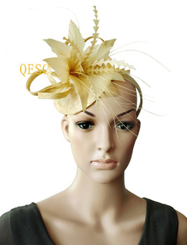 Yellow New Arrival feather sinamay bridal fascinator for kentucky derby wedding and party .