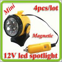 2015 drop shipping 4* 12v mini magnetic led car spotlights lamp warning coche trabajo lampara for car emergency etc.