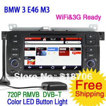 7inch HD Car DVD Player for BMW 3 E46 M3 with GPS IPOD DVB-T MPEG4  WiFi 3G RMVB steering wheel control free shipping KS1146
