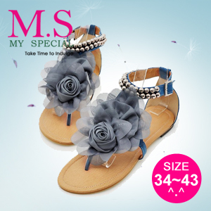 Free Shipping 2013 Fashion Ladies Or Girls Summer Shoes Sweaty Womens Flats Designer Sandals With Flower Plus Size 13 LX1001