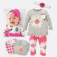 Free Shipment 5 piece baby girl's summer clothing sets Retails sales