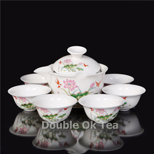 hot sale chinese kung fu tea set ceramic teapot 6 porcelain cups household tools drinkware service