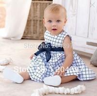 Hot Sale Baby dress girls clothes Children's short sleeve Blue plaid dress Free Shipping