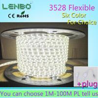 5M 3528 Led Strip  Waterproof 220V 230V 240V Flexible Strips Christmas Lights  60leds/m 14.4W/5M + Free Plug