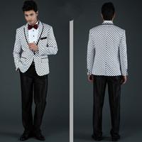 2014 New fashion business suit for men white and black dot brand mens dress tuxedo suit size S-4XL wedding suit