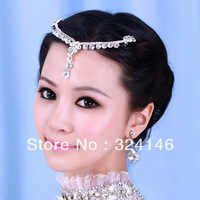 Newest 3pcs/lot cheap bridal rhinestone Frontlet  silver flower  tassels wedding hairpins  wedding accessory