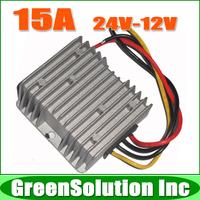 Free Shipping 10pcs/lot DC DC Converter 24V to 12V 15A Car Power Supply