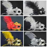5PCS/lot Dance party Feather mask mini masquerade mask halloween mask beauty mask birthday mask-16Color