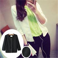 2014 Spring Fashion Stand Collar Long Sleeve Zipper Floral Print Women Streetwear Style Short Jacket Coat OuterwearM,L,XL WO-120