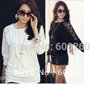 2015 Fashion Autumn Women's Long Sleeve Crew Neck Batwing Dolman Lace Casual Loose Tops black white T-Shirt Size S M L XL 5348