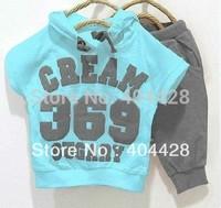 144# Free shipment 5sets/lot 2 color 369 digital t-shirt + pant 2013 new style children clothing set wholesales