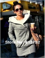 Brand New Korean Women's Hooded Cotton Jacket Wild Thick Warm winter coat jacket  Cotton gray black free shipping