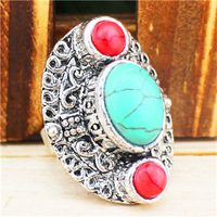 Vintage Look Retro Craft Tibet Silver Three Stone Green Red Adjustable Turquoise Rings R328
