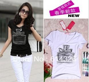2014 Women Clothing. New Fashion V-neck Scent-bottle Print T shirt Summer & Autumn Slim Cotton Tops Plus Size T-shirts DH2045