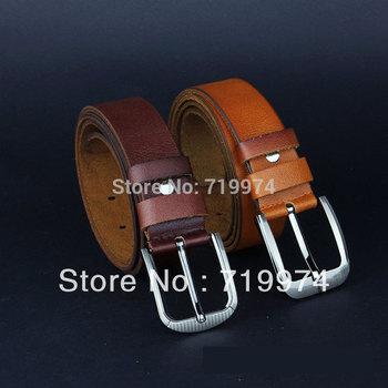 Quality Men's Designer Belts, Genuine Real Cow Leather Belt Western Cowboy Metal Buckle Belts Man Straps Brand New