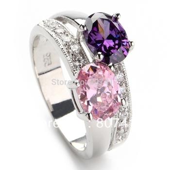 Trendy Amethyst pink 925 Silver Crystal ring R149 sz#6 7 8 9