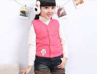 free shipping retail baby unisex Cotton vest overflights wadded jacket thermal winter sleeveless Cardigan coat  waistcoats