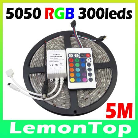 High Quality New RGB Led Strip Light Waterproof 5M SMD 5050 300 LEDs/Roll + 24 keys IR Remote Controller + IR Receiver(China (Mainland))