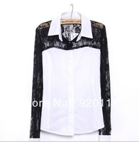 blouse lace women  shirts blouse black lace blouse white black lace shirt   Long sleeve women blouses 2013