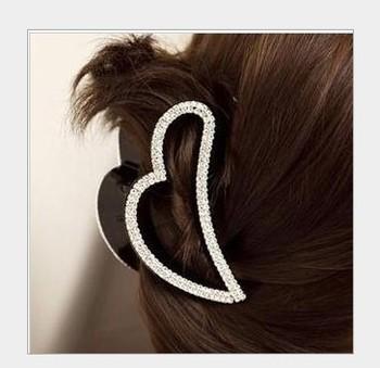 Free shipping wholesale heart design rhinestone hair claw clip women hair grips crystal headwear