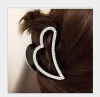 Free shipping wholesale heart design rhinestone hair claw clip women hair grips crystal headwear