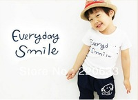 2014 new retail fashion Multicolor children/kids summer clothing Smiling face short sleeve T-shirt+pants suits Free shipping