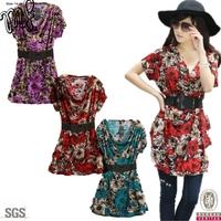New 2014  Plus Size Women Dress Rose Print Big Size Women Clothes Girl's Casual Dresses Vestidos