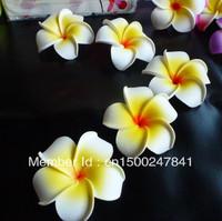 free shipping +good quality  50pcs Large  White  Fabulous Hawaiian foam frangipani flowers wedding party decor 8CM