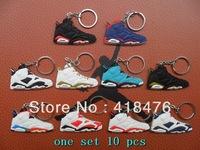 Free Shipping (10 colors ) Popular AJ VI Luminous Shoe Keychain,Sneaker Key Ring,min order 5 pcs
