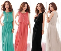 Q8013 Free shipping 4 colors Women Bohemia Womens Boho Maxi Evening Sleeveless Pleated Long Dress