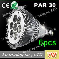 6pcs/lot 7W E27 PAR30 LED Bulb Lamp Light 85-256V  high power LEDs free shipping free shipping