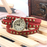 2013 new ! Square Rivets Rome Woman Watch Bracelet Watch Antique Genuine Leather Band dress watch 5 colors Free Shipping
