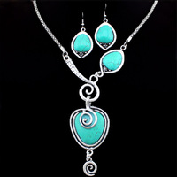Vintage Look Tibetan Alloy Silver Plated Snail Heart Drop Pendant Necklace Earring Turquoise Jewelry Sets S062