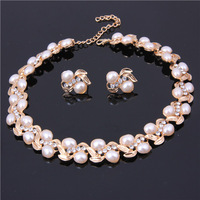 Hot Selling 18k Gold Plated African Wedding Bridal Costume Pearl Beads Necklace Sets New Fashion Crystal Rhinestone Jewelry Sets