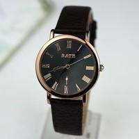 New 2014 Luxury Brand Dress Analog Watch Men Genuine Leather Quartz Wristwatch Gold Plated Roman Scale Male Clock Reloj TWL035