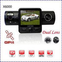 HK POST Free Shipping Full HD Car DVR X6000 With Dual Lens / G-Sensor / GPS / IR Light+Retail Box(X6000)